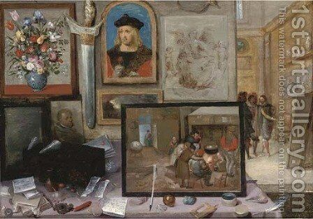 The interior of an artist's studio, with the artist showing his work in the background by (after) Frans II Francken - Reproduction Oil Painting