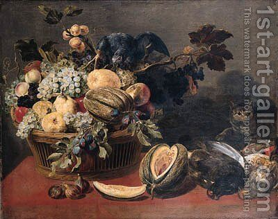 A parrot perched on a basket of fruit by (after) Frans Snyders - Reproduction Oil Painting