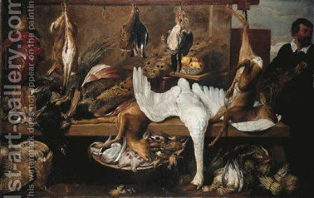 A game stall in a marketplace by (after) Frans Snyders - Reproduction Oil Painting