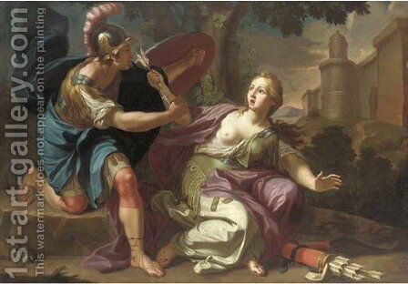 Armida restrained by Rinaldo by (after) Gaetano Lapis - Reproduction Oil Painting