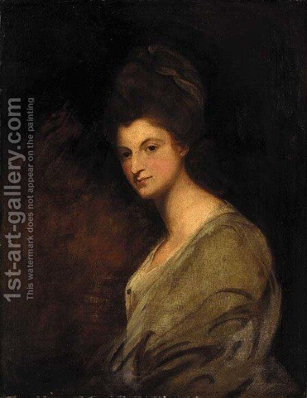 Portrait of a lady, half-length, in a white dress by (after) Romney, George - Reproduction Oil Painting