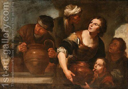 Peasants drawing Water from a Fountain by (after) Gioacchino Assereto - Reproduction Oil Painting