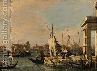 The Quay of the Dogana and the Giudecca Canal, Venice, the Churches of San Giovanni Battista and the Zitelle beyond by (after) (Giovanni Antonio Canal) Canaletto - Reproduction Oil Painting