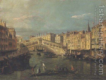 The Rialto Bridge, Venice, looking north-east by (after) (Giovanni Antonio Canal) Canaletto - Reproduction Oil Painting
