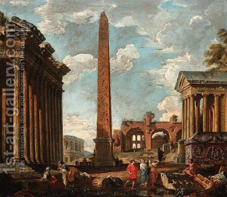 A capriccio of classical ruins with figures by the sarcophagus of Constantine, an obelisk by (after) Giovanni Paolo Panini - Reproduction Oil Painting