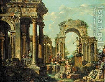 A capriccio of classical ruins with soldiers and other figures conversing by (after) Giovanni Paolo Panini - Reproduction Oil Painting