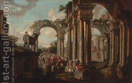A capriccio of classical ruins with soldiers at a pool by (after) Giovanni Paolo Panini - Reproduction Oil Painting