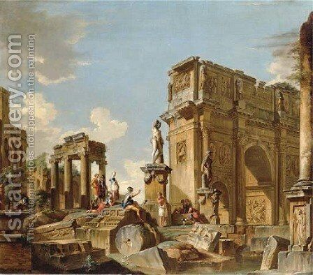 A capriccio of classical ruins with the Arch of Constantine and figures conversing by (after) Giovanni Paolo Panini - Reproduction Oil Painting