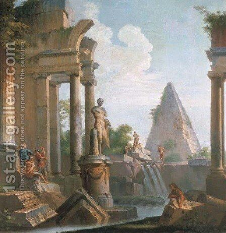 A capriccio of classical ruins with the Pyramid of Cestius by (after) Giovanni Paolo Panini - Reproduction Oil Painting