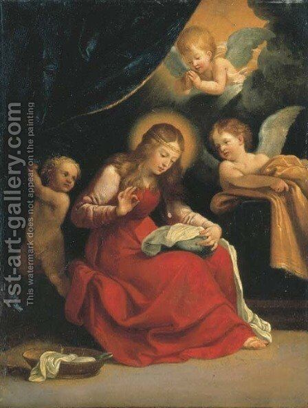 The Virgin sewing, accompanied by two Angels and a putto by (after) Guido Reni - Reproduction Oil Painting