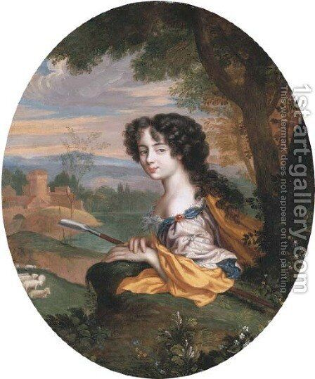 Portrait of a lady as a shepherdess holding a hoe, her sheep and a fortified dwelling beyond by (after) Henri Gascar - Reproduction Oil Painting