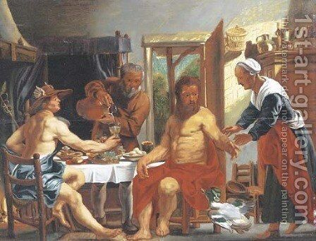 Mercury and Jupiter at the house of Philemon and Baucis by (after) Jacob Jordaens - Reproduction Oil Painting