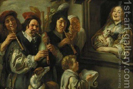 The Serenade Musicians serenading a woman at a window by (after) Jacob Jordaens - Reproduction Oil Painting