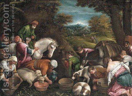 Moses Striking Water from the Rock by (after) Jacopo Bassano (Jacopo Da Ponte) - Reproduction Oil Painting