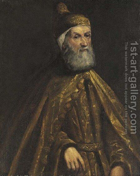 Portrait of the Doge Girolamo Priuli by (after) Jacopo Tintoretto (Robusti) - Reproduction Oil Painting