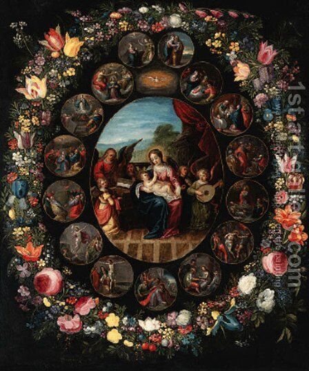 A garland of flowers surrounding a series ofroundels depicting the lives of the Virgin and of Christ by (after) Jan, The Younger Brueghel - Reproduction Oil Painting