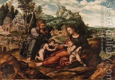The Holy Family with the Infant Saint John the Baptist on the return from Egypt by (after) An Sanders Van Hemessen - Reproduction Oil Painting