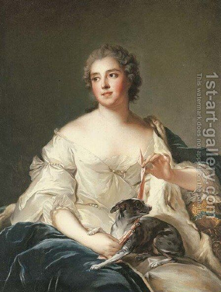Portrait of a lady, said to be la Duchesse de Chevreuse by (after) Jean-Marc Nattier - Reproduction Oil Painting