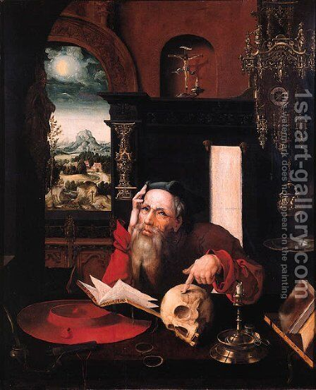 Saint Jerome 2 by (after) Cleve, Joos van - Reproduction Oil Painting