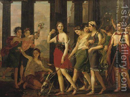 Anthia and her companions leaving for a hunting party by (after) Joseph Paelinck - Reproduction Oil Painting