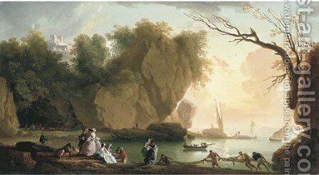 A coastal landscape with elegant figures and fishermen, a fortress and shipping beyond by (after) Claude-Joseph Vernet - Reproduction Oil Painting