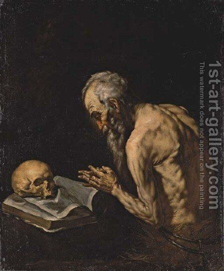 Saint Paul the Hermit by (after) Jusepe De Ribera - Reproduction Oil Painting