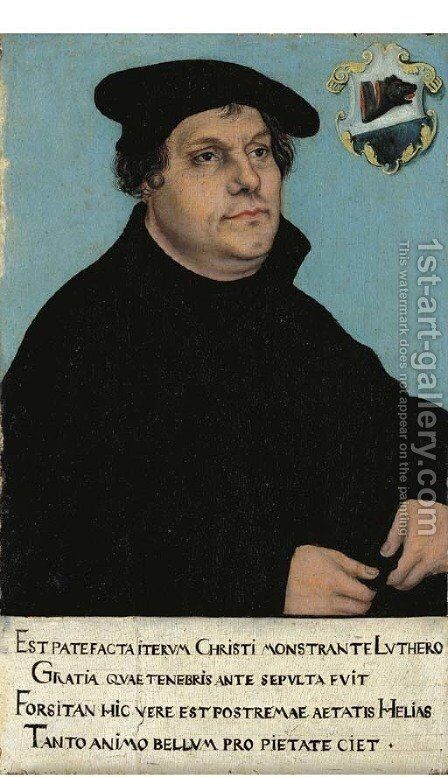 Portrait of Martin Luther 3 by (after) Lucas The Elder Cranach - Reproduction Oil Painting