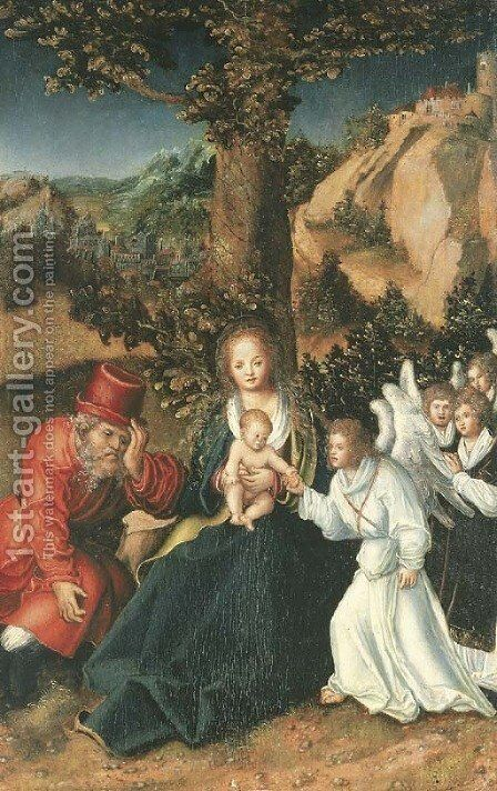 The Holy Family with angels in a landscape by (after) Lucas The Elder Cranach - Reproduction Oil Painting