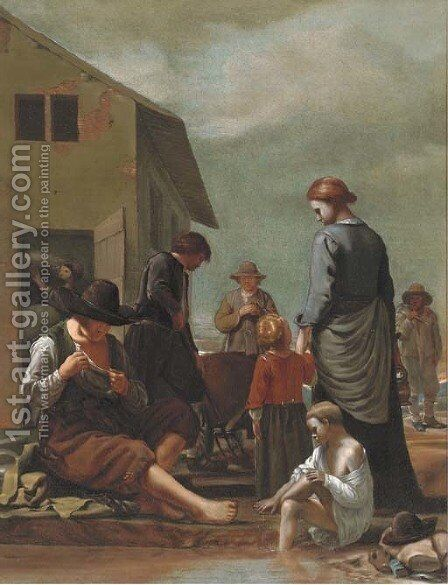 A peasant family with a man defleaing himself by (after) Michiel Sweerts - Reproduction Oil Painting