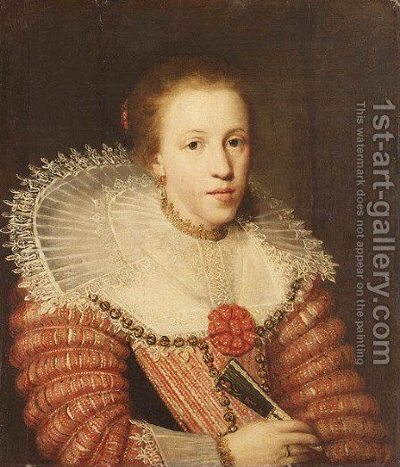 Portrait of a Lady, half length, wearing a red dress, a lace ruff and holding a fan by (after) Paulus Moreelse - Reproduction Oil Painting