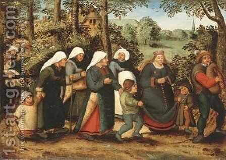 The Procession of the Bride by (after) Pieter The Younger Brueghel - Reproduction Oil Painting