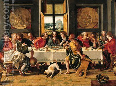 The Last Supper 3 by (after) Pieter Coecke Van Aelst - Reproduction Oil Painting