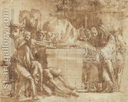 A pagan sacrifice with figures bringing rams to an altar by (after) Raphael (Raffaello Sanzio of Urbino) - Reproduction Oil Painting
