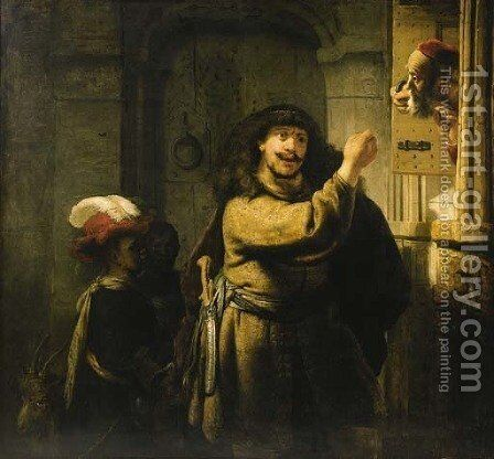 Samson threatening his father-in-law by (after) Harmenszoon Van Rijn Rembrandt - Reproduction Oil Painting