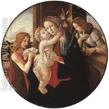 The Madonna and Child with the Young Saint John the Baptist and the Archangel Gabriel by (after) Sandro Botticelli (Alessandro Filipepi) - Reproduction Oil Painting