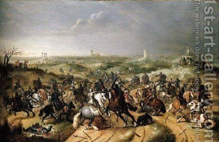 The Battle between Officers Breaute and Gerard Abrahamsz., called Lekkerbeetje, at Vught, 5 February 1600 by (after) Sebastiaen Vrancx - Reproduction Oil Painting