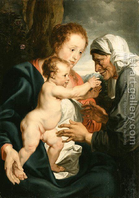 The Virgin and Child with Saint Anne 2 by (after) Dyck, Sir Anthony van - Reproduction Oil Painting