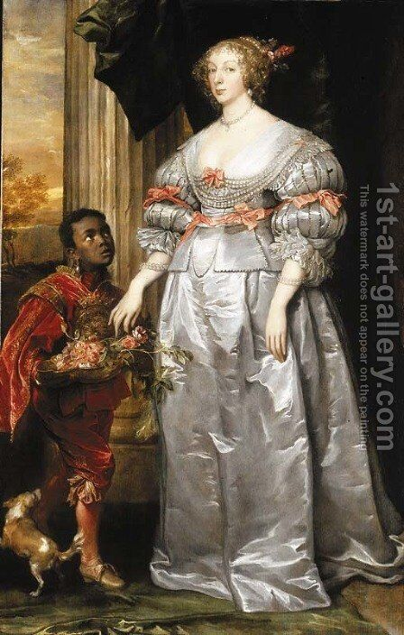 Portrait of a lady, full-length, in a white satin dress, a liveried page-boy holding a bowl of roses at her side by (after) Dyck, Sir Anthony van - Reproduction Oil Painting