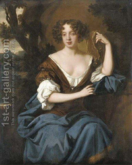 Portrait of a lady, possibly Louise de Keroualle, Duchess of Portsmouth by (after) Sir Peter Lely - Reproduction Oil Painting