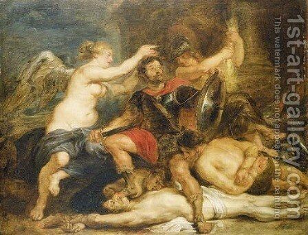 A hero crowned by Victory by (after) Sir Peter Paul Rubens - Reproduction Oil Painting