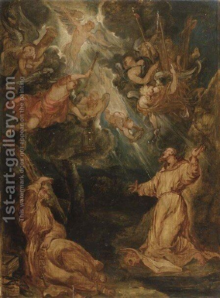 Saint Francis receiving the Stigmata by (after) Sir Peter Paul Rubens - Reproduction Oil Painting