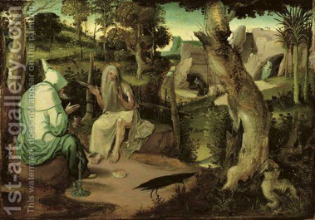 Saint Anthony the Great with Saint Paul the Hermit, in a wooded landscape by (after)  Jan Wellens De Cock - Reproduction Oil Painting