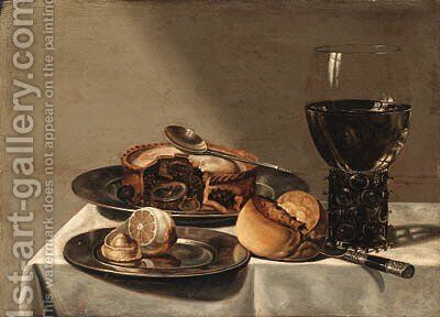 A roemer, a pie with a spoon and a peeled lemon on pewter plates by (after) Willem Claesz. Heda - Reproduction Oil Painting
