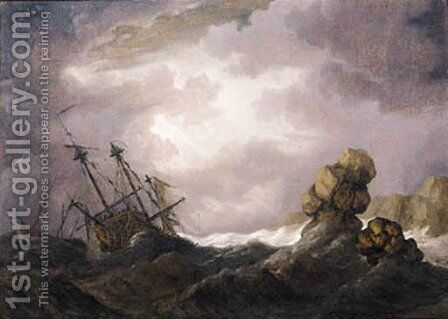 An English threemaster foundering in a gale off a rocky coast by (after) Willem Van De, The Younger Velde - Reproduction Oil Painting