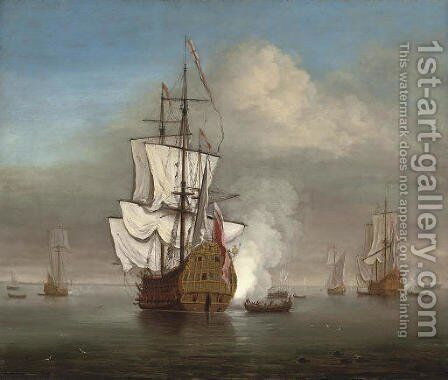 An English naval squadron announcing its departure from its anchorage by (after) Willem Van De, The Younger Velde - Reproduction Oil Painting