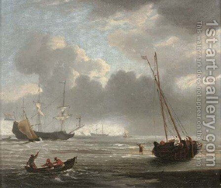 Two Dutch men-o'war anchored offshore amidst small craft by (after) Willem Van De, The Younger Velde - Reproduction Oil Painting
