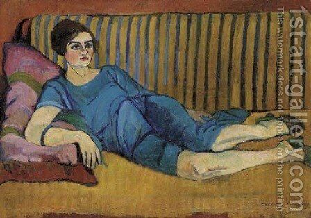 Femme allongee sur un canape by Suzanne Valadon - Reproduction Oil Painting