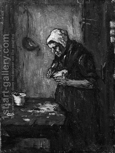 An old woman peeling potatoes by Suze Robertson - Reproduction Oil Painting