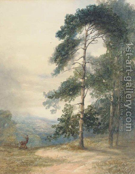 A stag and his herd scenting a disturbance by Sydney Herbert - Reproduction Oil Painting