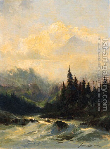 Rapids of the Tokosheetna River by Sidney Laurence - Reproduction Oil Painting